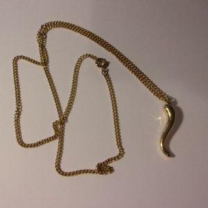 """Men's Gold Tone Longhorn Necklace 24"""" Long"""